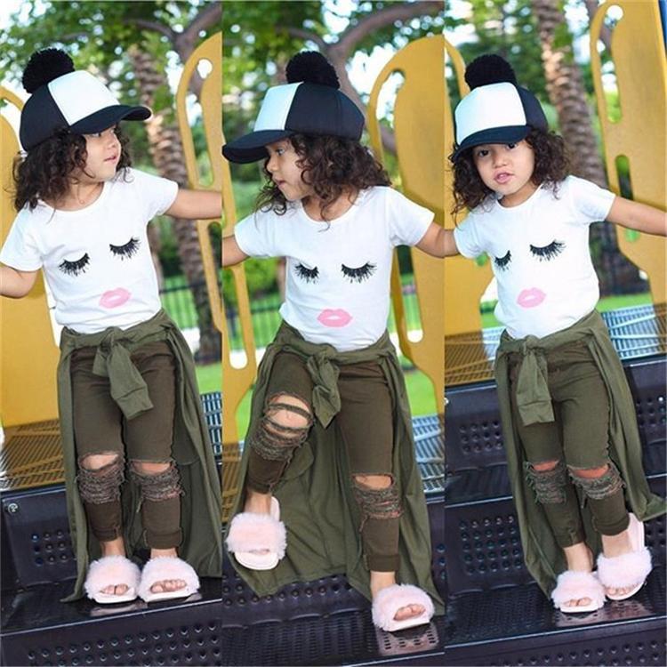 Summer Newborn baby girl kids clothes Set Eyelashes Tops T-shirt+Army Pants Leggings Outfits 2 pcs Kids Designer Clothes Girls JY316-U