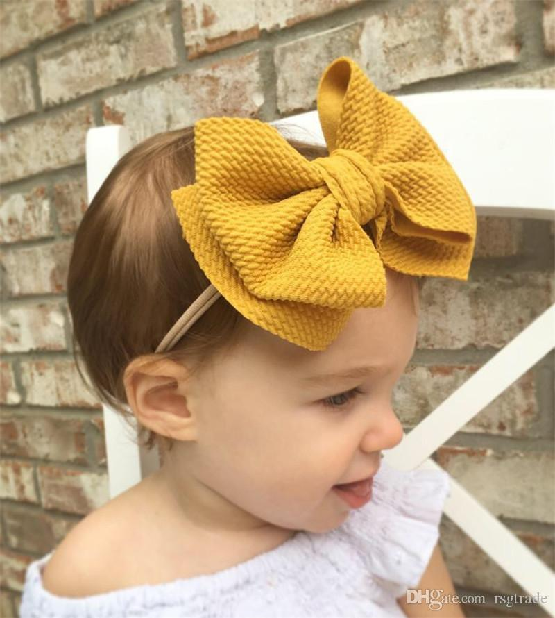Free DHL 16 Colors Cute Big Bow Hairband Baby Girls Toddler Kids Elastic Headband Knotted Nylon Turban Head Wraps Bow-knot Hair Accessories
