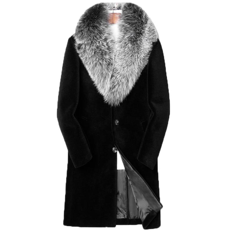 pick up special sales official photos 2020 100% Wool Coat Winter Jacket Men Fox Fur Collar Real Sheep ...