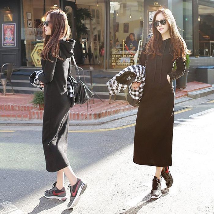 Pop2019 Suit-dress Solid Color Long Sleeve Sweater Dress Hood