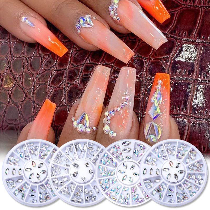 DIY diseño AB acrílico diamante uñas brillo uñas diamantes de imitación cristales DIY arte decoraciones manicura herramientas Accesorios