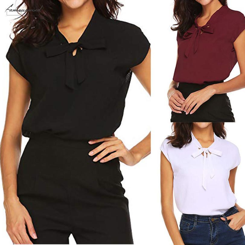 Летние Женские Топы И Блузки 2020 С Коротким Рукавом Повседневная Офисная Работа Шифоновая Блузка Рубашки Топы Женская Блузка Повседневная Новая