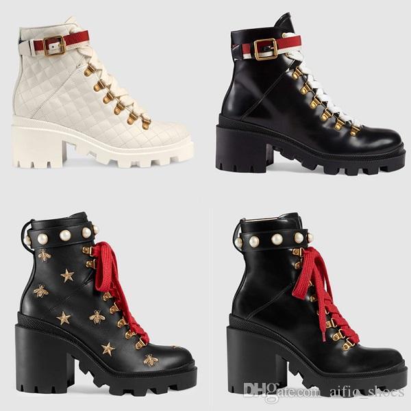 Mulheres De Couro De luxo Bordado Tornozelo Bota Sapatos de Grife Cristais Martin Botas Sylvie Web lace-up Tornozelo Bota De Couro Real com Diamantes