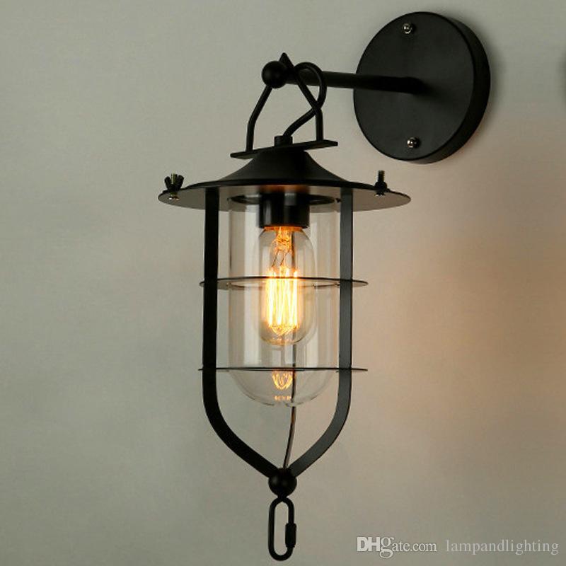빈티지 스타일 미국 로프트 매트 검은 금속 벽 빛 산업 레트로 벽 램프 식사 거실 sconce 전등 발코니 발코니 corrido