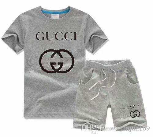 HOT SELL classic New Style Children's Clothing For Boys 2-9 years And Girls Sports Suit Baby Infant Short Sleeve Clothes Kids Set oirei32