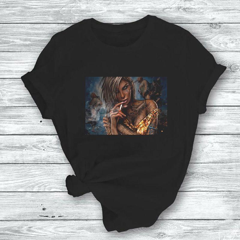 Seksi Siyah Kız Yaz Kadın Tişörtler Baskılı Kısa Kollu T Shirt Stretch Kısa Kollu Tee Gömlek