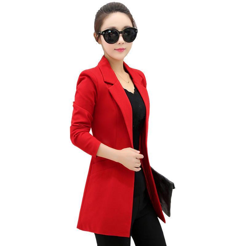 Primavera Autunno Giacca femminile signore dell'ufficio del cappotto rivestimento lungo del manicotto Donne Blazer Elegant Slim Plus Size Blazer Feminino Q2569