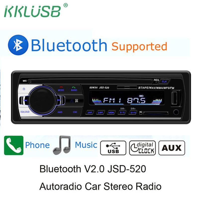 Autoradio Jsd-520 12v Autoradio Bluetooth 1 Din Radios Stéréo Aux-in Fm / usb / récepteur Mp3 Multimedia Player Autoradio