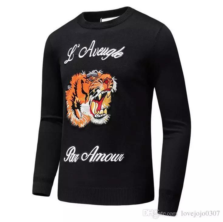 Latest Tiger embroidery Winter Casual Sweater Brand Clothing Long Sleeve Mens Sweaters classic Shirt Pullover O-Neck Knitwear D20