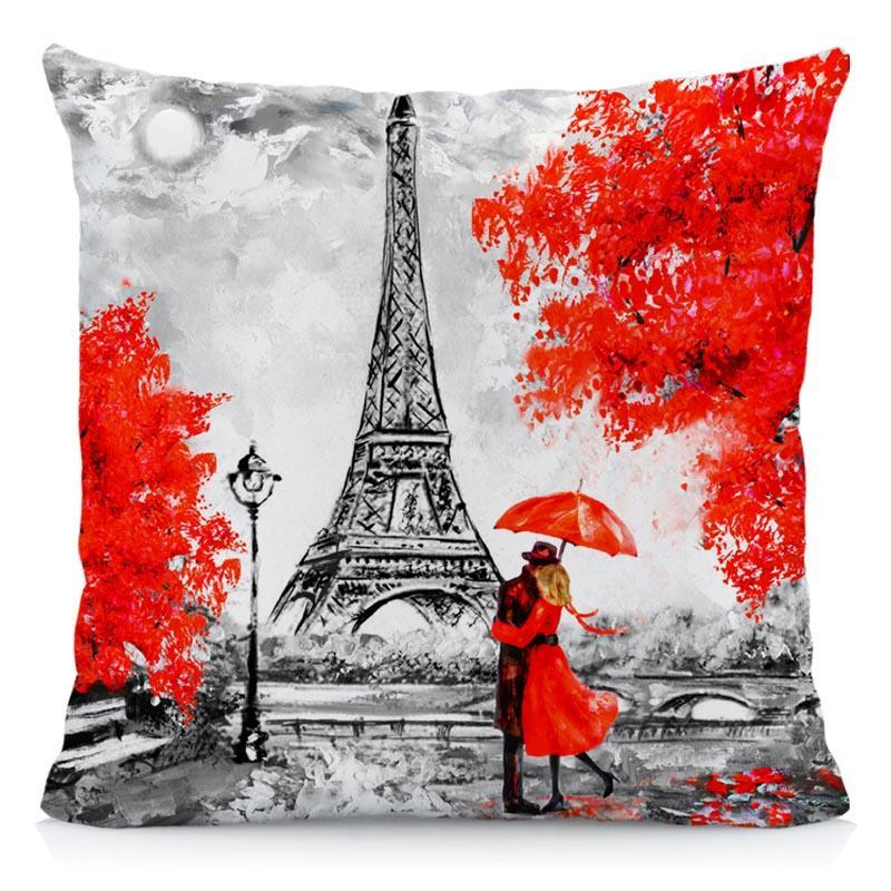 4 Packs Throw Pillow Covers BLACK /& RED Color Eiffel Tower Big Ben Modern Couple