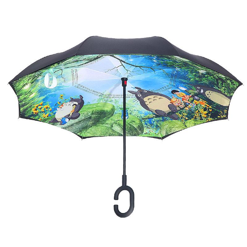 Anime Ghibli Totoro inversée Umbrella Umbrella coupe-vent Inversé pour voiture Paraguas Inverso Totoro inverse Inside Out Parapluie