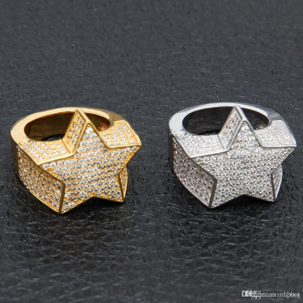 Hot Uphot 2018 hot Men's Fashion Copper gold Color Plated Exagerate Ring High Quality ice Out CZ Stone Star Shape Ring Jewe