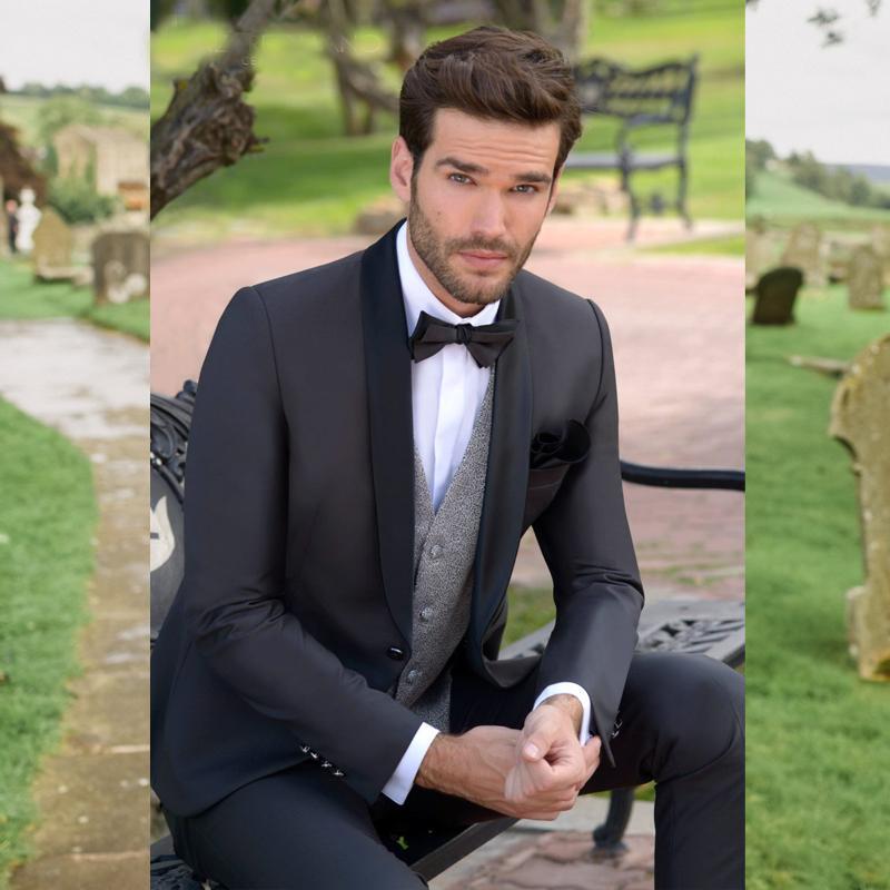 Ternos pretos Slim Fit Mens Prom xaile lapela com laço Ternos de casamento para homens smoking Três Peças Blazers Jacket colete e calças