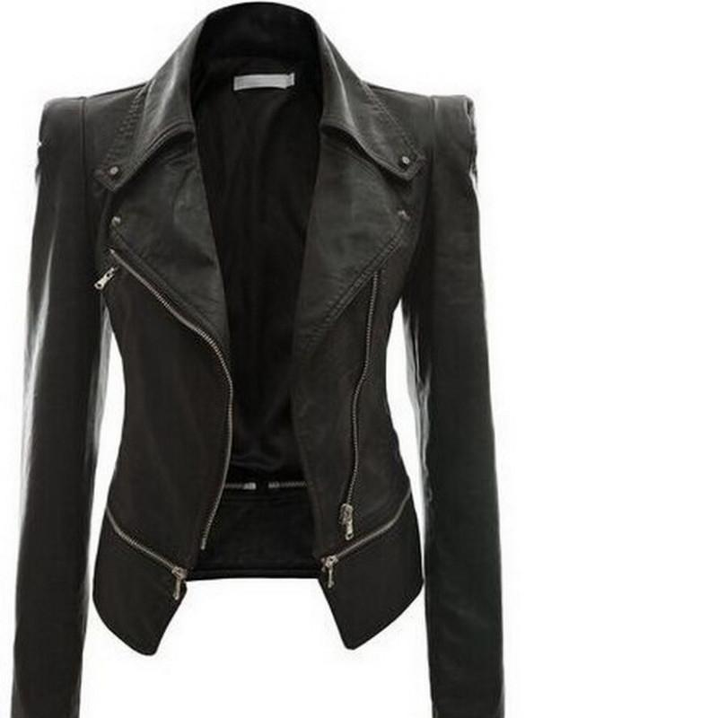 Autunno faux delle donne del rivestimento di cuoio nero gotico moto giacca Cerniere maniche lunghe in pelle goth femminile PU Faux Giacche T200319