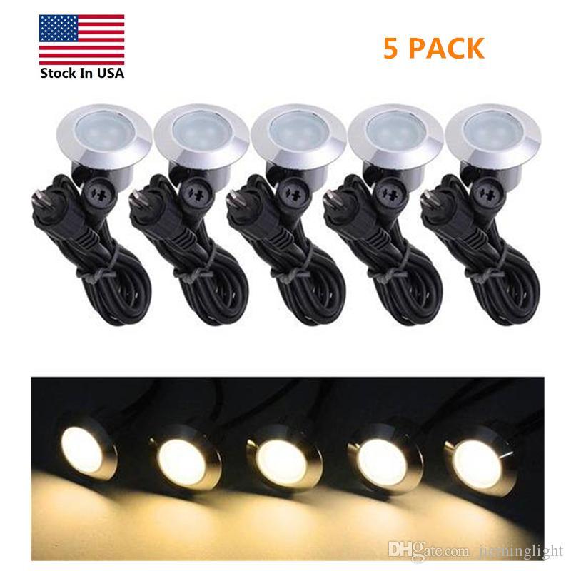 Lâmpadas Paisagem EU Stock Pack 5 LED Recessed luzes ao ar livre pequeno passo Decks Luzes Low Voltage 12V Waterproof