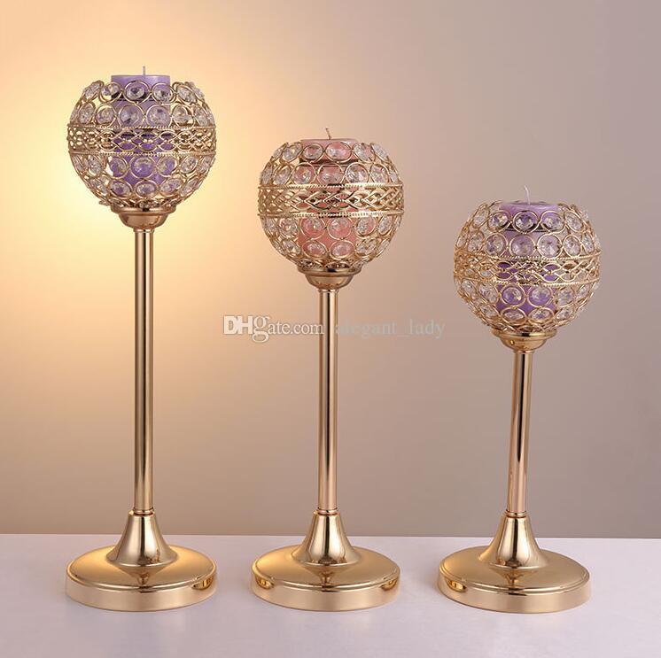 Tealight Castiçais Candelabros de Cristal De Metal Vela Stand Candelabros para Mesa de Festa de Casamento Centrais Candelabros Decoração de Casa de Férias