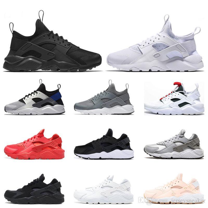 Nueva Huarache 4.0 1.0 Triple Clásica Blanco Negro rojo de los zapatos corrientes de las mujeres para hombre transpirable deportes de la moda zapatilla de deporte de los instructores de tamaño 36-45