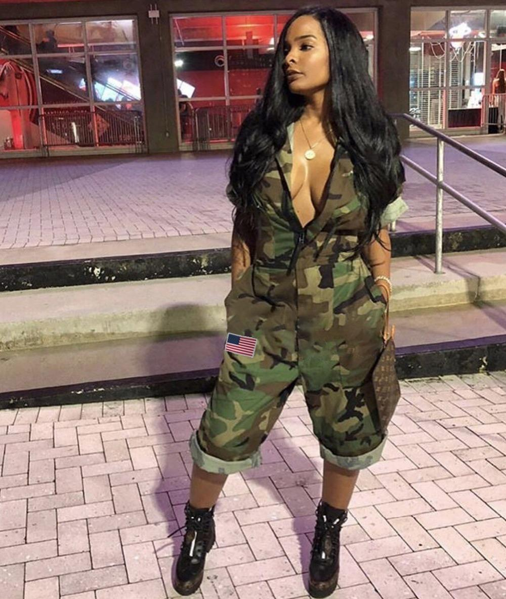 Vazn Hot Sale Women 2018 Casual Design Camouflage Women Calf-length Jumpsuits Short Sleeve Pockets Zipper Cool Thick Romper Y074 Y19071701
