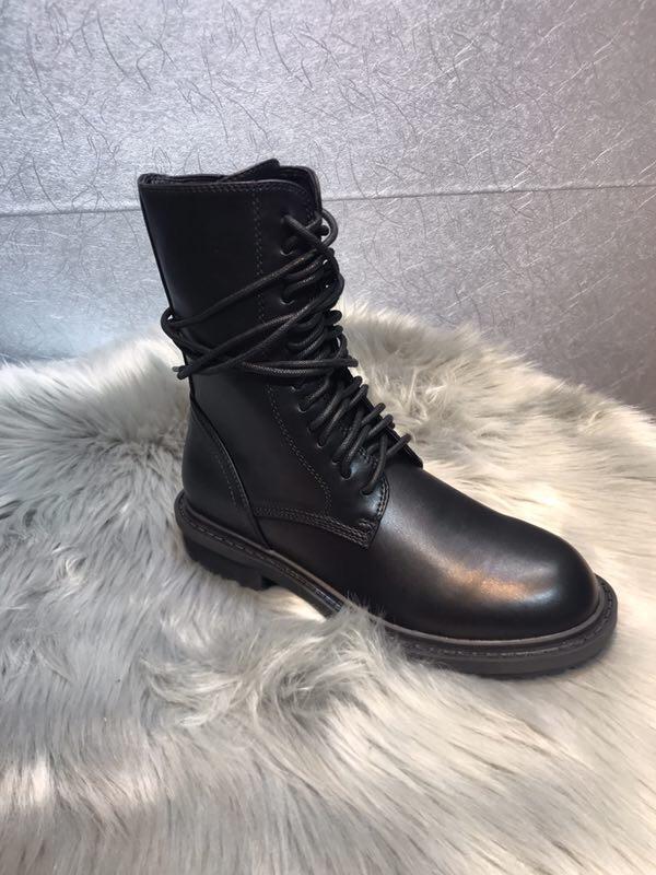 Sıcak satış-Ann Demeulemeester tasarımcı düz yüksek kaliteli ayakkabılar kadınlar Lace Up ayak bileği Boot bileği Boots sneaker iyi hakiki deri topuklu