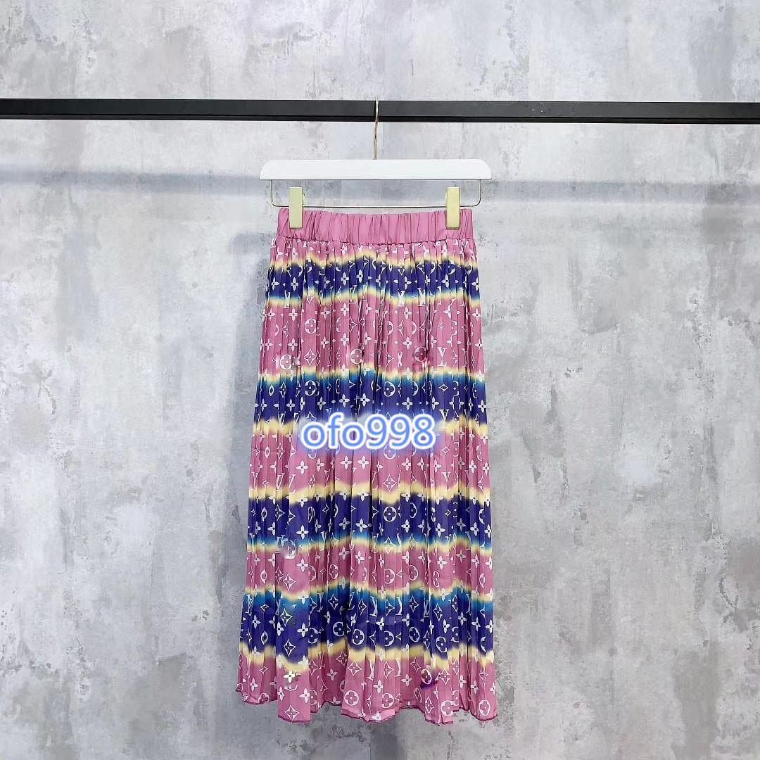 2020 mujeres de gama alta niñas falda plisada carta de color pritning elástico de la correa una línea de falda de la moda de las mujeres del plisado una línea de Falda