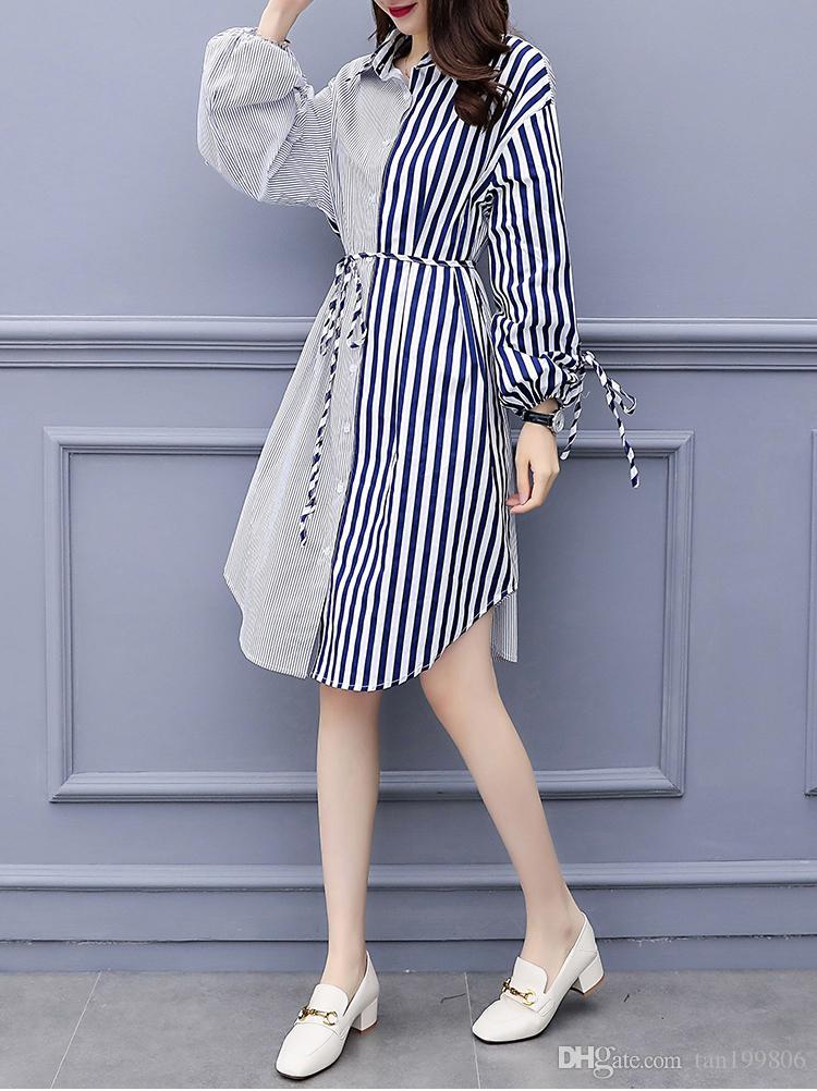 2019 rayé couture robe à manches longues robe mi-longueur nouvelles lâche grande taille des femmes de la mode vestimentaire décontracté