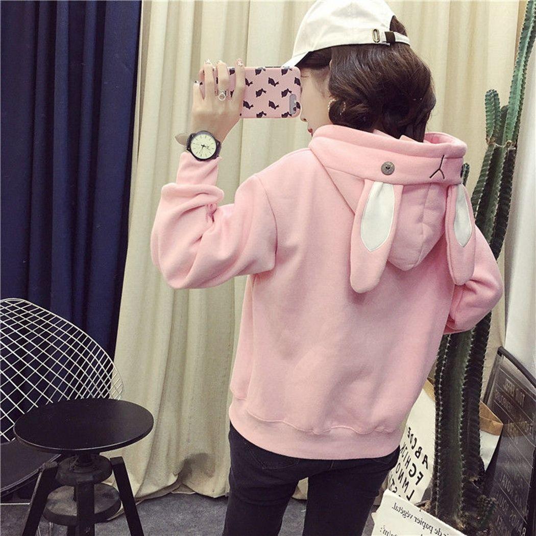 Kawaii Bunny Ear Hoodie Women Long Sleeve Hooded Sweatshirts Pink Autumn Winter Girl Hoody Tops Pullovers Plus Size Tracksuits Y200106