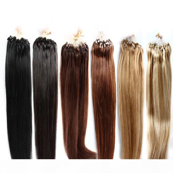 Цвет #1#2#4#27#613 доступный 100% бразильский микро-кольцо петля наращивание волос 100 г пакет шелковистый прямой черный коричневый блондинка больше цвета волос