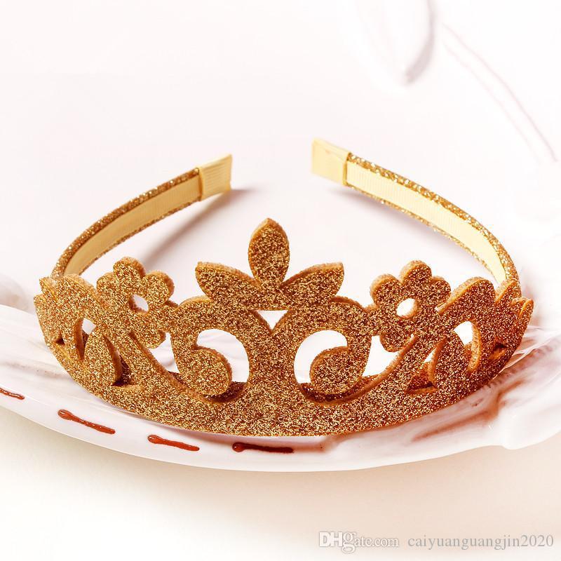 Head Wear 15pcs Lot Princesse Couronne Bandeau Glitter Felt Vintage Or Argent Diadème Bandeaux de fête d'anniversaire cadeau Accessoire Tête