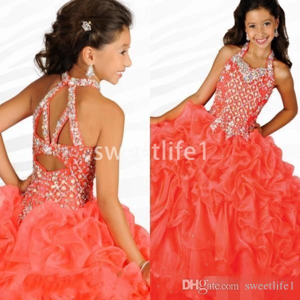 Robes pageant filles magnifique licol avec strass pastèque volants organza ritzee filles robes de soirée