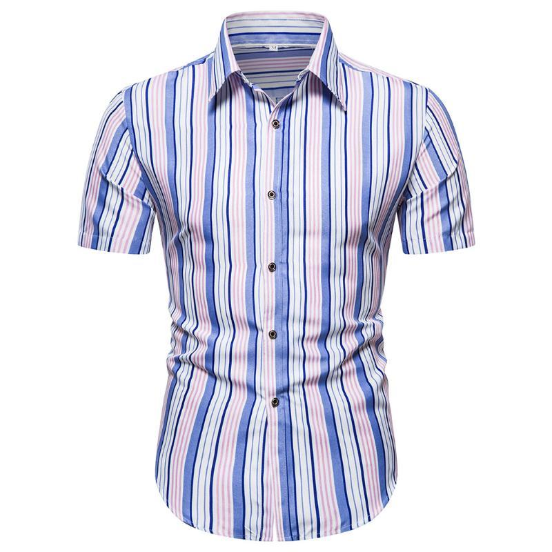 2020 Sommer-Kurzschluss-Hülsen-Shirt Mens-beiläufige gestreifter Strand Hawaii-Hemden dünnes Sitz Shirts Männer plus Größe 5.29