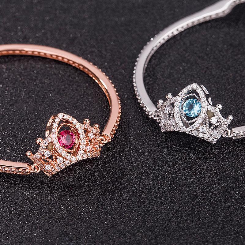 S925 couronne en argent sterling bracelet intelligent micro incrusté bracelet battant concepteur coeur