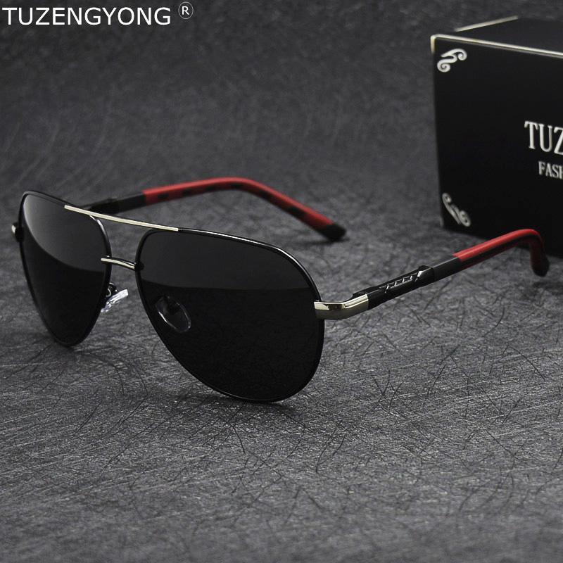 TUZENGYONG Aluminium polarisierte Sonnenbrille der Männer klassische Marken-Driving Sonnenbrillen Beschichtung Objektiv Brillen Zubehör für Männer Oculos