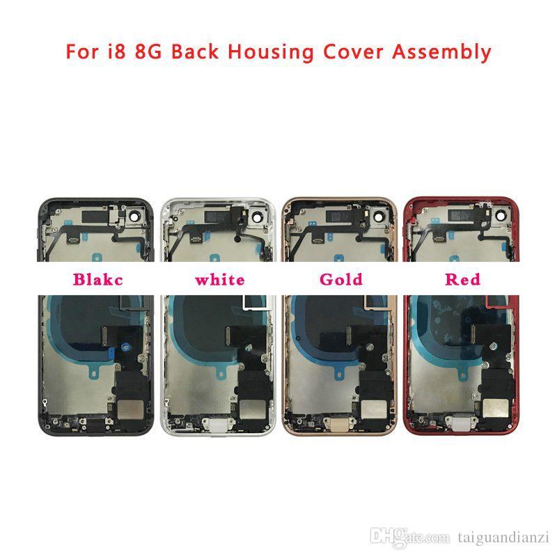 Konut Case iphone 8 8G 8 P 8 Artı X Pil Arka Kapak Kapı Arka Kapak + Flex Kablo Ile Orta Çerçeve Şasi