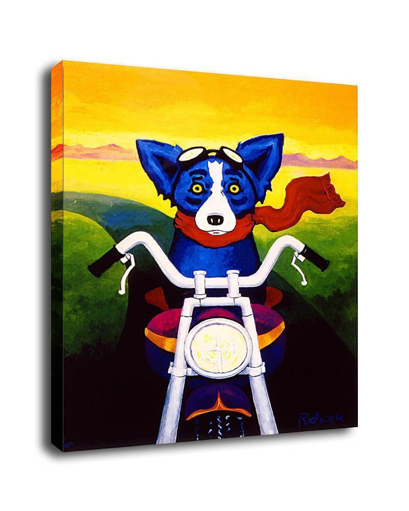 Grande Haute Qualité George Rodrigue peint à la main animal Blue Dog Art Conduire une moto Peinture à l'huile Accueil Art Déco Options cadre toile