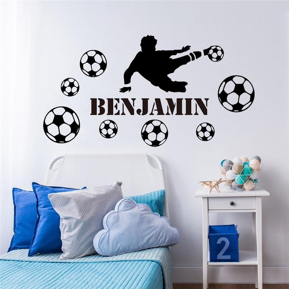 Football Custom Name Of Soccer Wall Sticker For Kids Room Decoration Boys Children Room Decor Vinyl Decal Removable Mural Decals