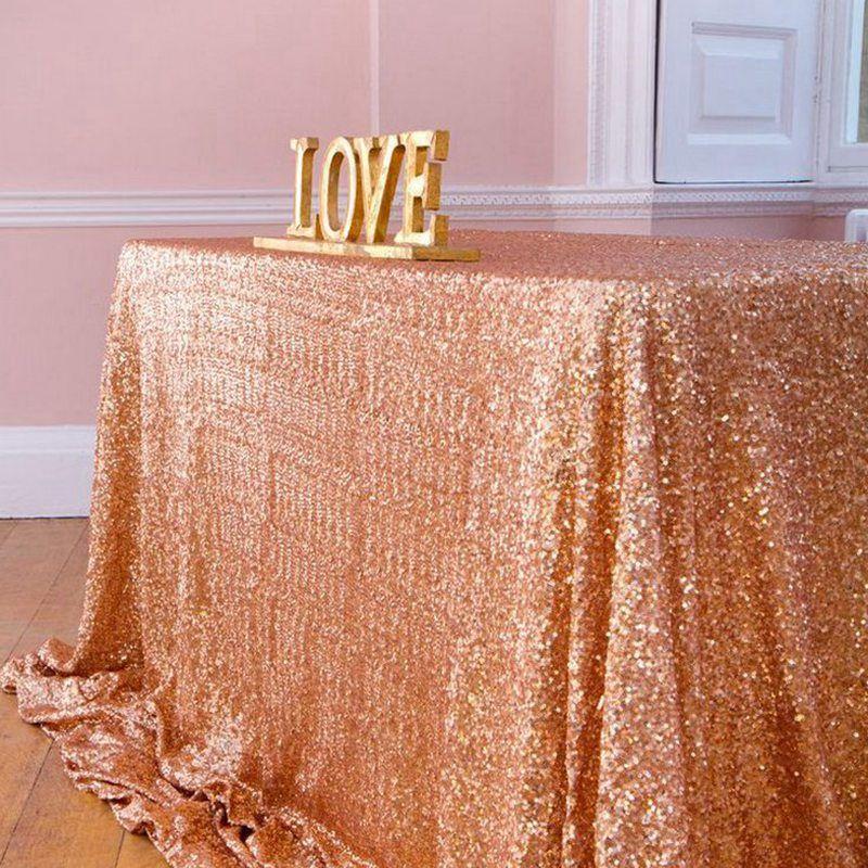 225 * 390cm 파티 웨딩 테이블 장식을위한 골드 / 로즈 골드 / 실버 / 핑크 / 로얄 블루 장식 조각 식탁보 사각형 반짝이 테이블 커버