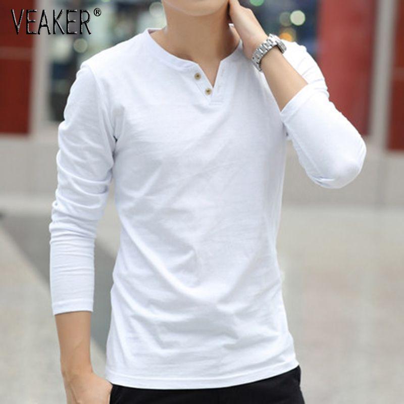 2018 neue männer Herbst Leinen t shirts Männlichen Langarm Chinesischen Stil Tops t-shirt Einfarbig Weiß Leinen Baumwolle t-shirt M-3XL SH190828