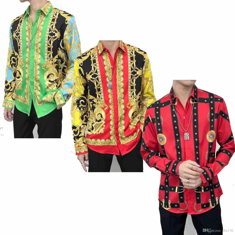 Nouveau Designer Plaid homme Chemise mode casual shirt Méduse T-shirt pour hommes d'or Floral Slim Slip Polo Chemises