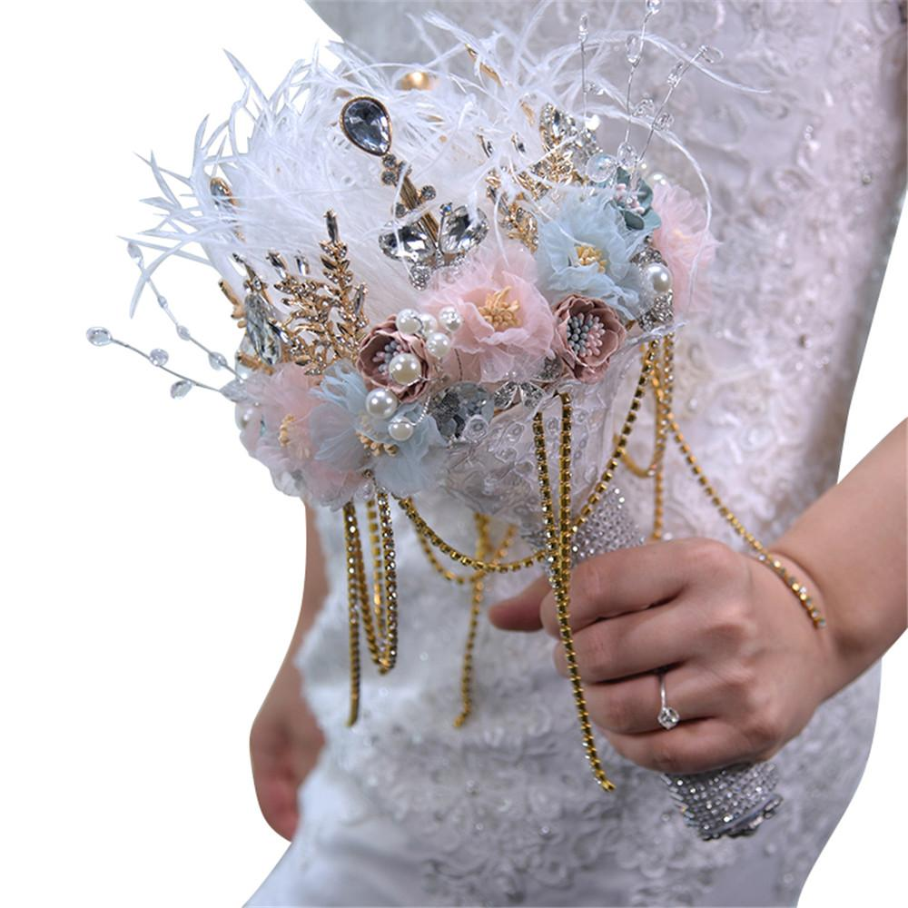 H S Bridal Ivory Pink Feather Wedding Bouquet 2019 Women