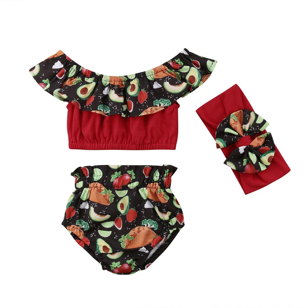3PCS roupa Set Criança Baby Kids Meninas Alças Fruit Floral Ruffle Cortar Tops Shorts alça Outfits roupas Set