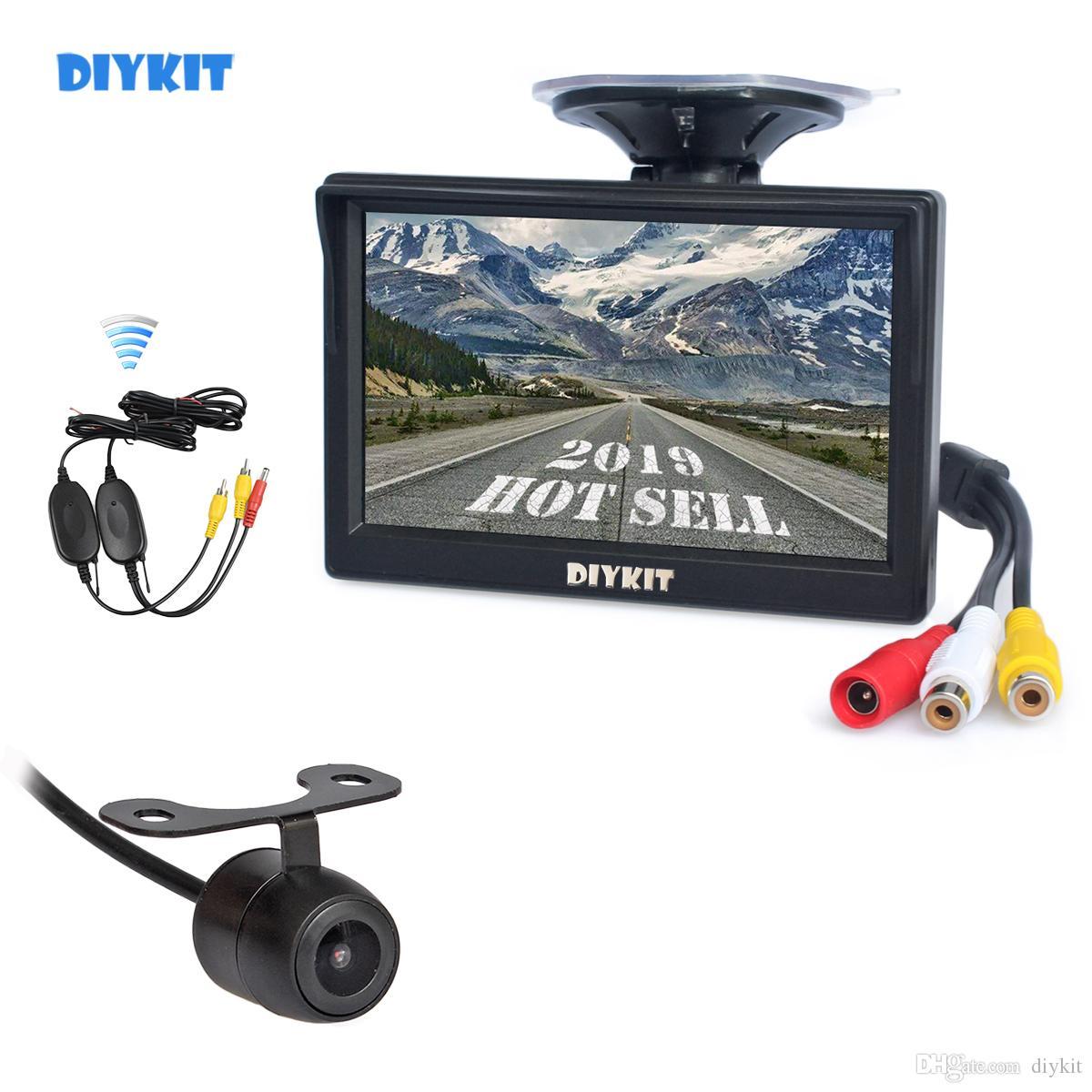 DIYKIT Wireless Parking Security System Kit 5inch Rear View Monitor Car Monitor + Waterproof HD Backup Car Camera