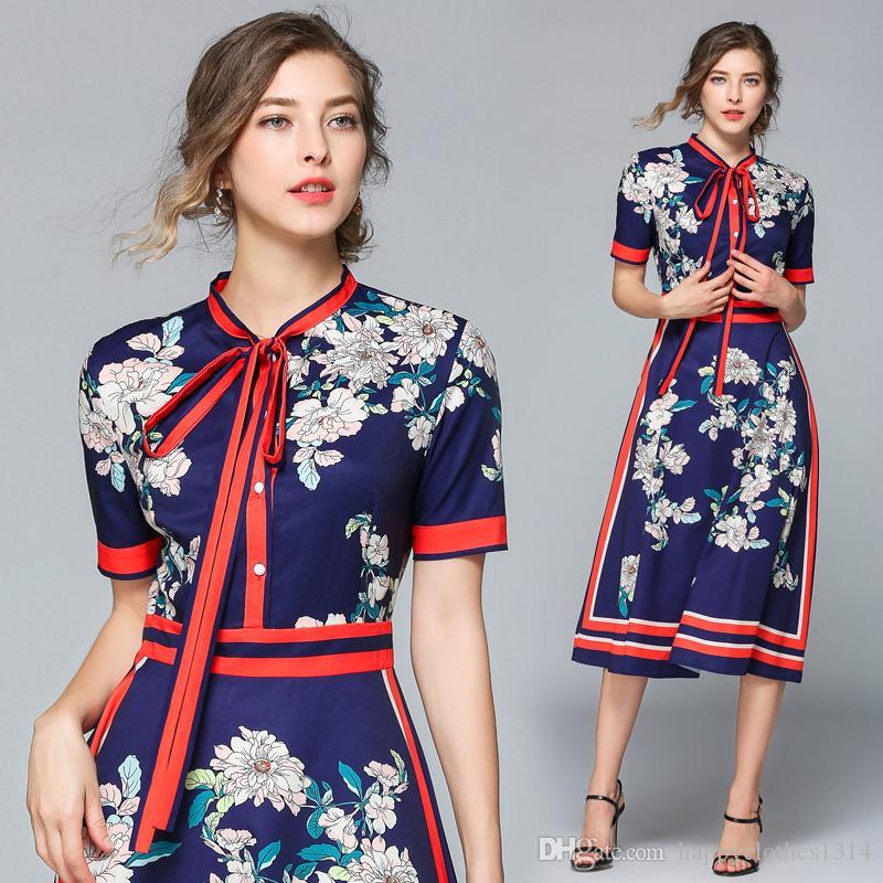 Luxus Vintage Fliege Krawatte Hals gedruckt Kleid 2021 Frauen Mode Button Front Floral Kleider Sommer Herbst Büro Damen Elegant Slim Reich Taille A-Line Party Frock