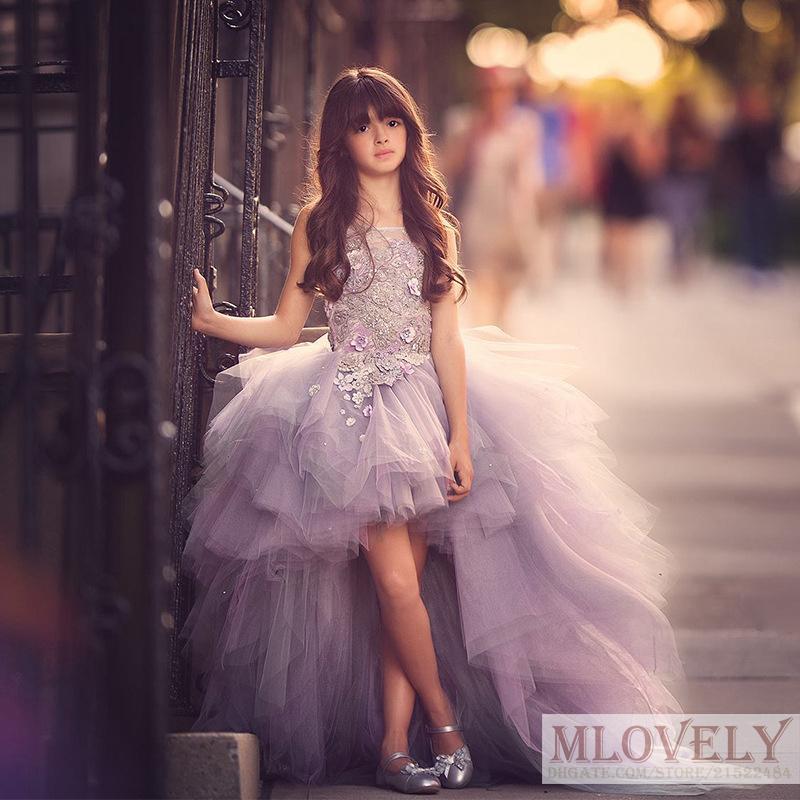 Superbe Pageant Robes Princesse Tulle Dentelle Haut Bas lilas Enfants fleurs Appliques filles robe de bal anniversaire robe pour les filles 5-14 ans
