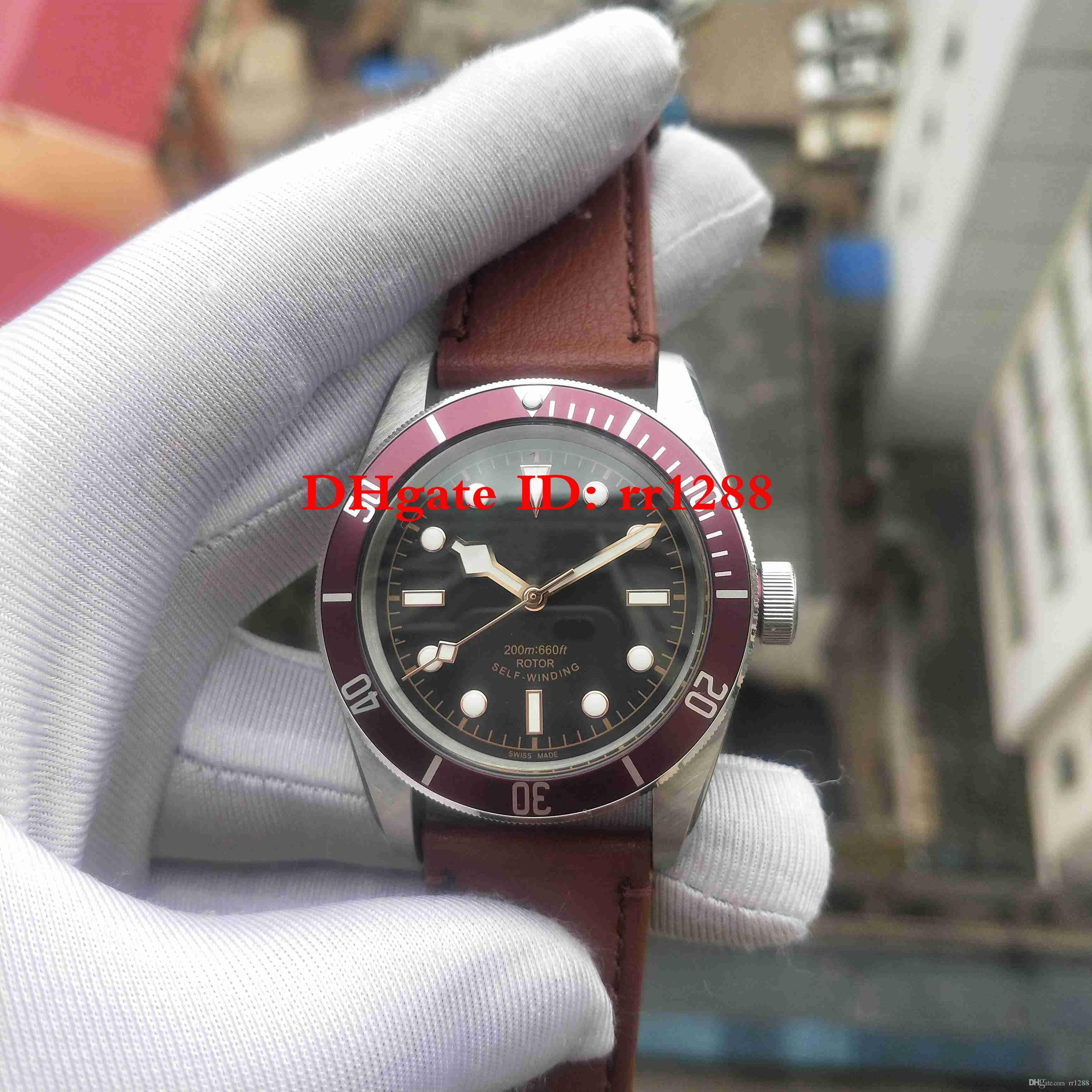 En çok satan Yüksek Kalite İzle GENEL Saatler Mekanik Otomatik Siyah kadran Kahverengi kayış Erkek Saatler Saatı