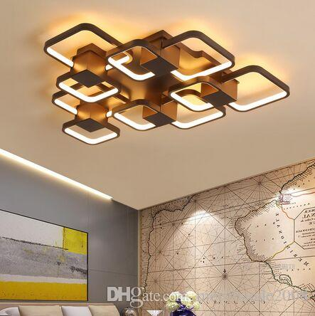 New Coffee Finished Modern led Ceiling Lights For Living Room Bedroom Study Room Home Deco 90-265V Ceiling Lamp Fixtures MYY
