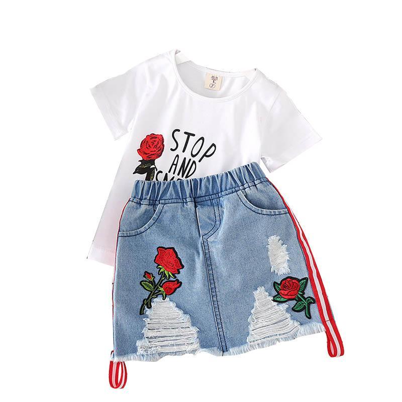 Niñas Denim Faldas Traje Bebé bordado de la letra T-Tops camisas de los niños Vestimenta niñas ocio Denim Faldas Ropa de bebé 3-7T 060