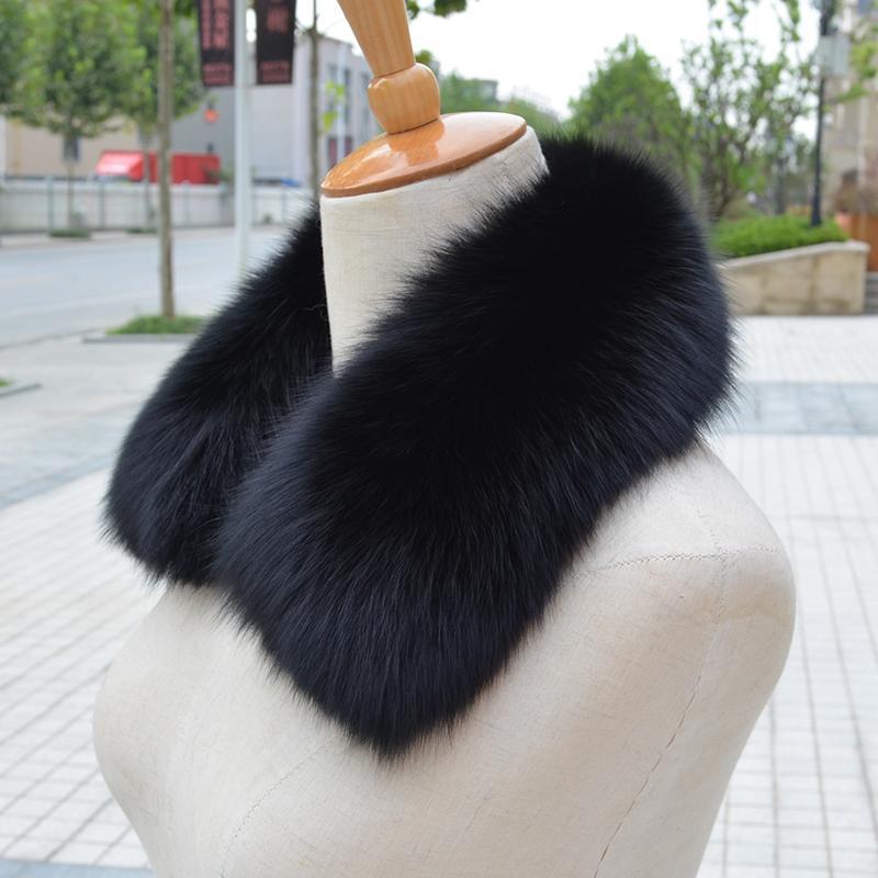 wholesale 2018 Real fox Fur Collar Scarf Womens Shawl Wraps Shrug Neck Warmer Black Stole Wholesale Hot sale Ring Scarf Women