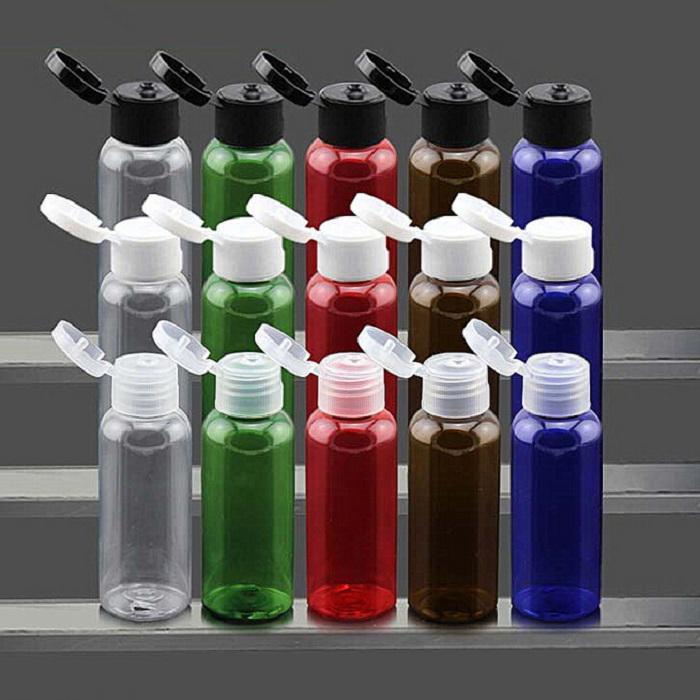 50pcs / lot 10 - 120ml Virar garrafa Cap Top essenciais Garrafas Creme Óleo de armazenamento de contentores de plástico Embalagem Cosméticos Garrafas vazias