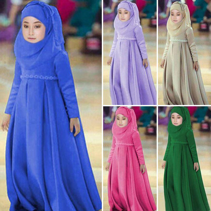 2019 Müslüman Çocuklar Elbiseler Çiçekler Kız Çocuk Dubai Arapça Malezya Endonezya Başörtüsü Elbise Kaftan Bangladeş Türkiye Vestidos BAE