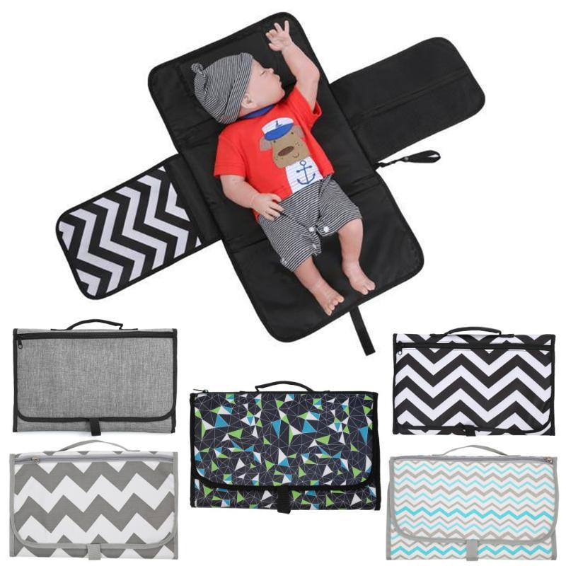 Dark Green dots 3-in-1 Multi-Function Travel Portable Folding Waterproof Baby Changing Diaper Pad 6 Appearance Options